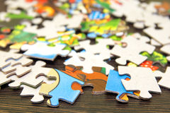 Puzzle. Pieces of puzzle close up Royalty Free Stock Photo