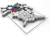 Puzzle. Build USA. 3d Very beautiful three-dimensional illustration, figure Stock Photography