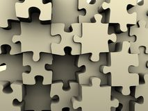 Puzzle 3. Conceptual wall structure of puzzle - renderend in 3d Stock Photos