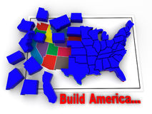 Puzzle. Build USA. 3d Very beautiful three-dimensional illustration, figure Royalty Free Stock Photo