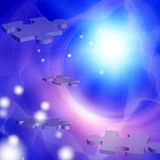 Puzzle. Pieces float in space with ethereal light Stock Image