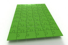 Puzzle (3D). Board of green Puzzle on white (3D Royalty Free Stock Image
