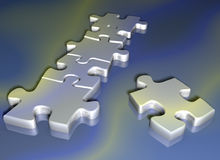 Puzzle. Pieces - 3d render royalty free illustration