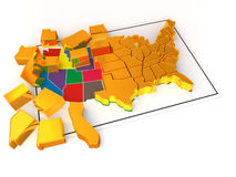 Puzzle. Build USA.  Very beautiful three-dimensional illustration, figure. 3d Royalty Free Stock Image