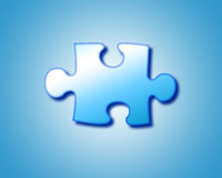 Puzzle. One piece on blue puzzle Royalty Free Stock Image