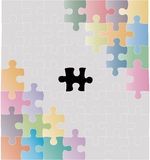 Puzzle. Missing piece of the puzzle as a business metaphor. By colour puzzles the competing parties of business are shown. Vector illustration. The additional Stock Photo