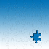 Puzzle. Glassy puzzle pieces on blue background - one missing Stock Photos