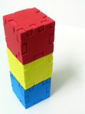 Puzzle. Cube Puzzle - Primary colour (red-yellow-blue Stock Photo