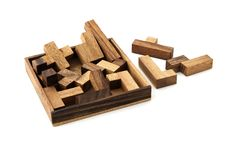 Puzzle. A wooden puzzle based on pentominoes Stock Image