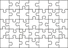 Puzzle. Vector transparent puzzle on withe background Royalty Free Stock Images