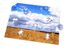 Puzzle. Piece of landscape. 3d Royalty Free Stock Photo