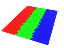 Puzzle. Colored RGB puzzle piece. 3d Royalty Free Stock Image