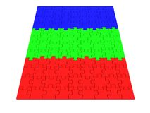 Puzzle. Colored RGB puzzle piece. 3d Royalty Free Stock Photos