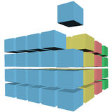 Puzzle abstract cubes boxes cartons. A cube rises up from rows and stacks of 3D cubes, boxes, or cartons in colors as a puzzle solution Royalty Free Stock Images