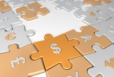Puzzle. Abstract Puzzle from world currencies Stock Photo