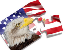 Puzzle with American flag with Eagle on white background Royalty Free Stock Photo