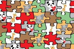 Puzzle with animals elephant geraffe panda black Stock Photos