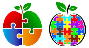 Puzzle apple logo. Illustration of puzzle apple logo Royalty Free Stock Photos