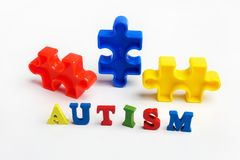 Puzzle: autism awareness day or month concept. On white background Stock Photography