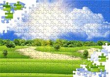 Puzzle avec une zone Images stock