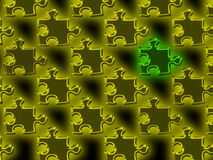 Puzzle Background. An illustrated background of yellow puzzle pieces and one unique green piece Royalty Free Stock Photo