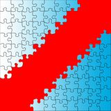 Puzzle background. Red background on blue puzzle Stock Photos