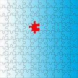 Puzzle background. Red background on blue puzzle Stock Images