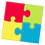 Puzzle background. Puzzle pieces background with four different colors Royalty Free Stock Photo