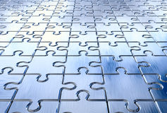 Puzzle background. Metall puzzle background. 3d rendered image Royalty Free Stock Photo
