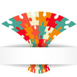 Puzzle background with banner. Illustration for your business presentation Stock Photos