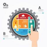 Puzzle banner.concept IL del modello di spinta di Infographics degli ingranaggi Fotografia Stock