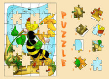 Puzzle of bee. Color illustration of a puzzle for children Stock Images