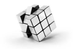 Puzzle bianco del cubo Immagini Stock