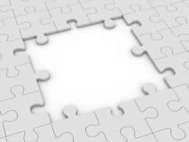 Puzzle with big gap. Grey puzzle with big gap. 3d rendering Stock Image