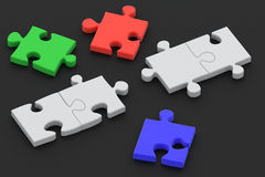 Puzzle on Black Royalty Free Stock Photos