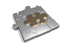 Puzzle Block. A 3D scene consits of nine metal puzzle pieces modles forming a block or a square shape while the middle piece is unique with gold material on the Royalty Free Stock Photography