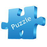Puzzle blue. Third demension puzzle blue on white background Stock Images