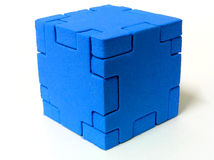 Puzzle - BLUE. A sponge cube puzzle with white colour background Royalty Free Stock Photos