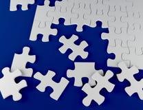 Puzzle on blue background 3D illustration strategy problem Stock Photo