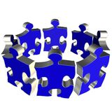 Puzzle blue team. Puzzle team blue color on white background Stock Image
