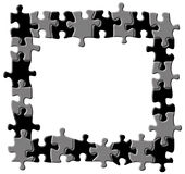 Puzzle border. Black and grey puzzle border isolated on white background Stock Photos
