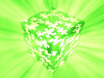 Puzzle box green. High Resolution 3D Illustration puzzle box green Royalty Free Stock Photography