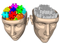 Puzzle brain of woman and man - cartoon Royalty Free Stock Photography
