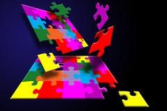 Puzzle breakout. Falling puzzle vector illustration