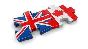 Puzzle BRITANNIQUE et canadien de drapeau Image stock