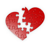 Puzzle of a broken heart. Isolated puzzle of a broken heart with clipping path Royalty Free Stock Photos