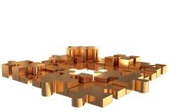 Puzzle Build piece Gold Stock Images
