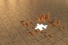 Puzzle Build Plane Gold Stock Image