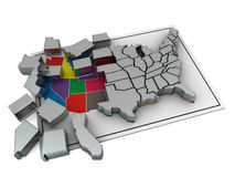Puzzle build USA. 3d Very beautiful three-dimensional illustration on white background Stock Image