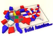 Puzzle build USA. 3d Very beautiful three-dimensional illustration, figure Stock Photo